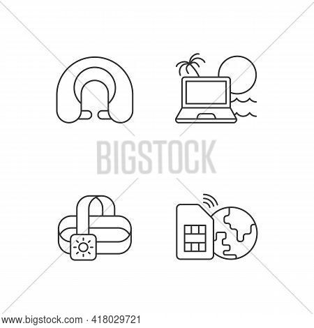Nomadic Lifestyle Linear Icons Set. Trip Gear. Neck Pillow. Laptop For Digital Nomad. Summer Vacatio