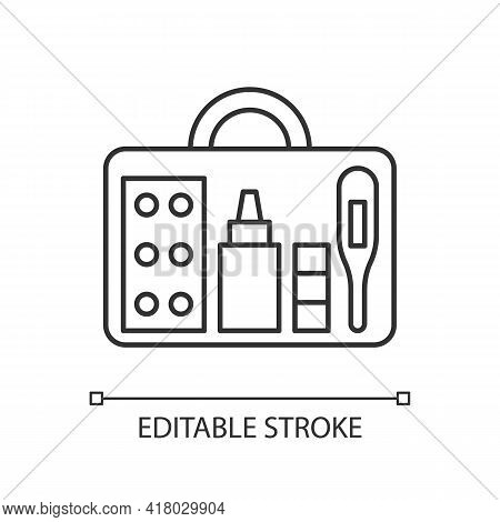 Small First Aid Kit Linear Icon. Health Care Emergency Bag. Roadtrip Gear. Nomadic Equipment. Thin L