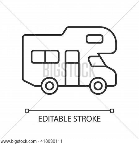 Recreational Vehicle Linear Icon. Roadtrip Trailer. Van For Touring. Nomadic Lifestyle. Thin Line Cu