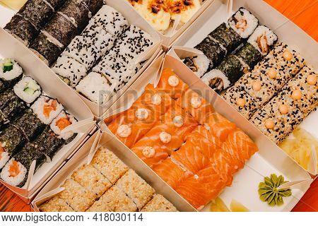 Sushi Rolls, Close Up. Maki Sushi Rolls Japanese Food Rolls.