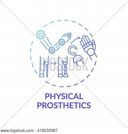 Physical Prosthetics Concept Icon. Rehab Engineering Idea Thin Line Illustration. Physical Impairmen
