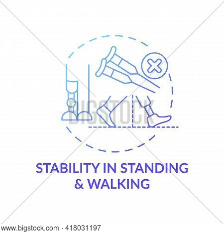 Stability In Standing And Walking Concept Icon. Standing With Equal Weight-bearing Idea Thin Line Il