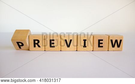 Preview Or Review Symbol. Turned The Cube And Changed The Word 'preview' To 'review'. Beautiful Whit