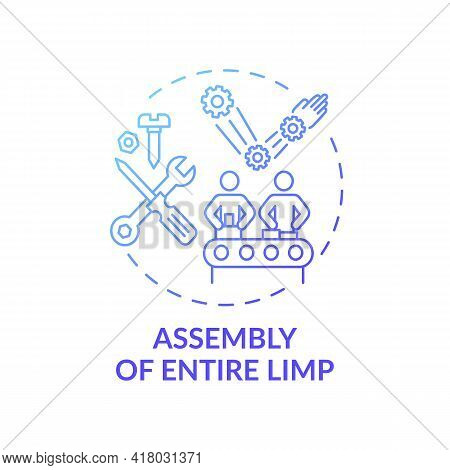 Entire Limb Assembly Concept Icon. Manufacturing Step Idea Thin Line Illustration. Prosthetic Compon