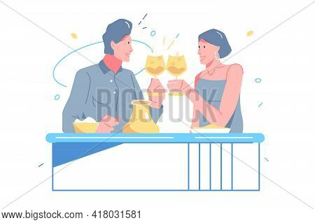 Lover Celebrate Date In Restaurant Vector Illustration. Man And Woman Raise Glass With Champagne Fla