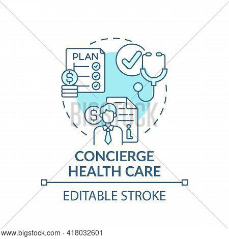 Concierge Healthcare Concept Icon. Wealth Advisory Service Idea Thin Line Illustration. Making Inves
