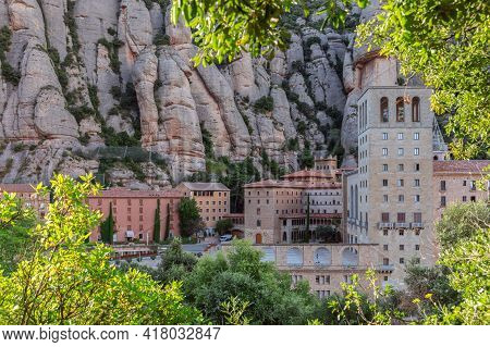Montserrat, Barcelona - Spain. July 15, 2020: Beautiful View Of The Famous Benedictine Abbey Of Mont