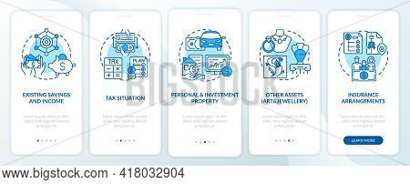 Comprehensive Prosperity Control Onboarding Mobile App Page Screen With Concepts. Savings, Assets Wa