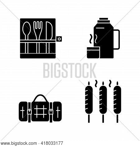 Outdoor Social Gathering Black Glyph Icons Set On White Space. Picnic Cutlery. Vacuum Flask. Grilled