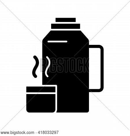 Vacuum Flask Black Glyph Icon. Keeping Coffee And Tea Hot. Thermos Flask. Leak-proof Mug. Heat Leavi