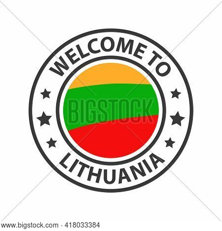 Welcome To Lithuania. Collection Of Welcome Icons. Stamp Welcome To With Waving Country Flag