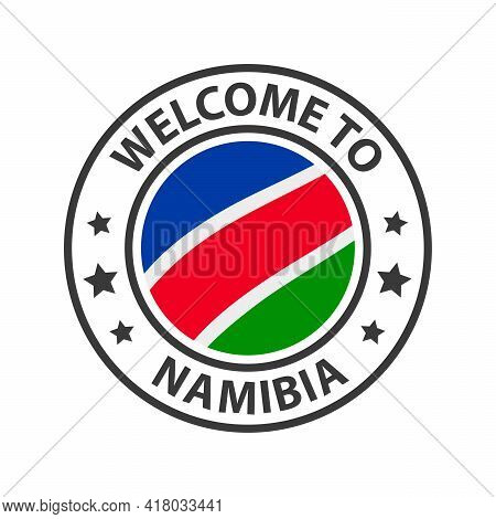 Welcome To Namibia. Collection Of Welcome Icons. Stamp Welcome To With Waving Country Flag