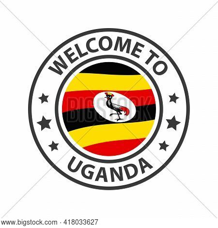 Welcome To Uganda. Collection Of Welcome Icons. Stamp Welcome To With Waving Country Flag