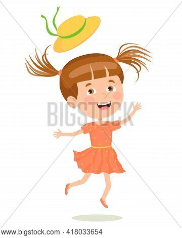 A Cheerful Girl In A Summer Dress And Hat Flying In A Jump. Illustration In A Flat Style. Suitable F