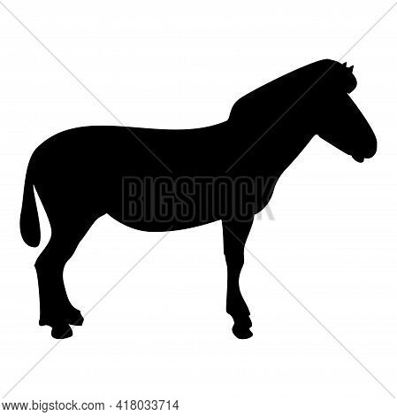 Silhouette Zebra Stand Animal Standing Black Color Vector Illustration Flat Style Simple Image