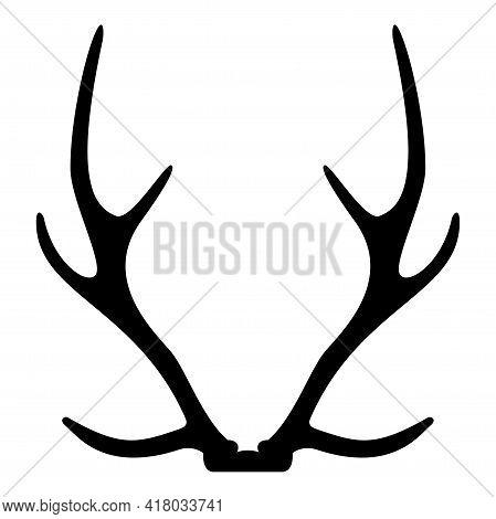 Silhouette Antler Horn Concept Trophy Black Color Vector Illustration Flat Style Simple Image