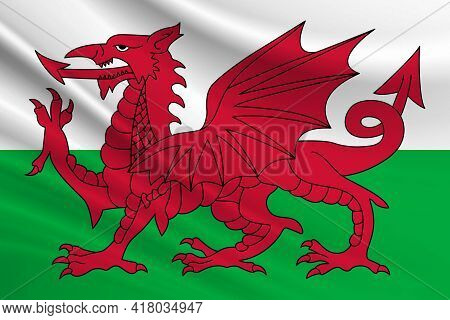 Flag Of Wales. Fabric Texture Of The Flag Of Wales.