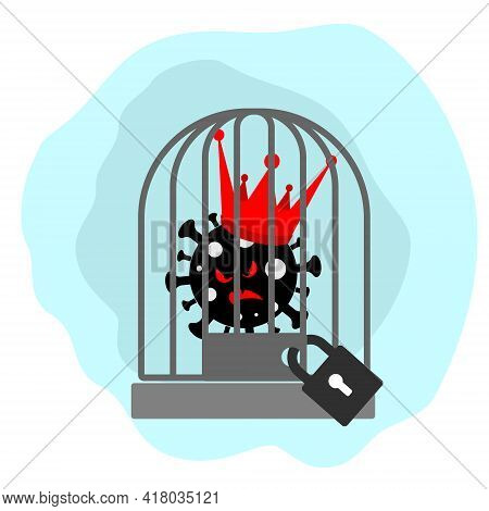 The Virus In The Royal Crown Sits In A Birdcage With A Large Padlock On A Clean Background