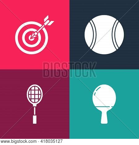Set Pop Art Racket For Playing Table Tennis, Tennis Racket, Ball And Target With Arrow Icon. Vector