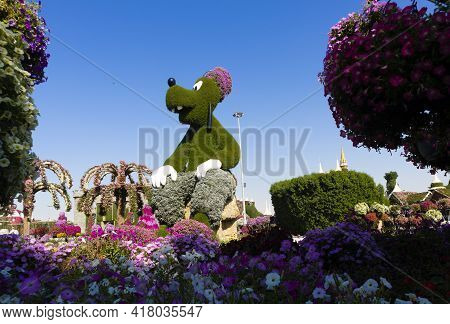 Dubai, United Arab Emirates, April 9, 2021, Dubai Miracle Garden Located In The District Of Dubailan