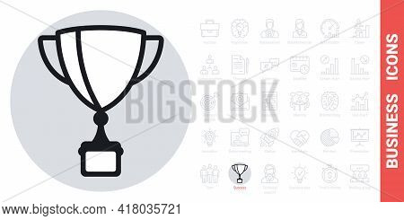 Award Cup, Winner Cup Or Champion Cup Icon. Business Success Concept. Simple Black And White Version