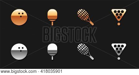 Set Bowling Ball, Racket For Playing Table Tennis, Tennis Racket And Billiard Balls Triangle Icon. V