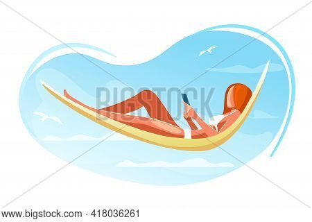 Hammock With Woman Sunbathing On Beach On Vacation Vector Illustration. Character Reading On Resort.