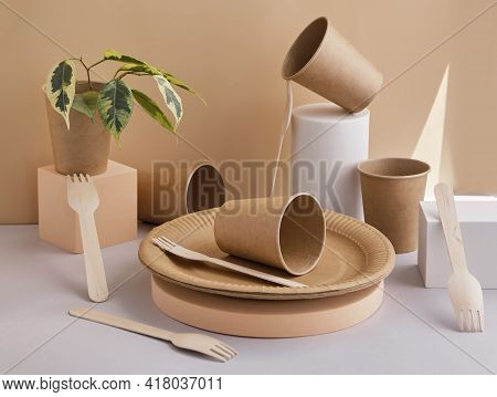 Eco-friendly Tableware, Wooden Forks Placed On Trendy Geometric Pedestals