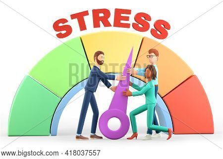 3d Illustration Of Human Characters Reducing The Pressure Of Problem In Stress Level Concept. Emotio