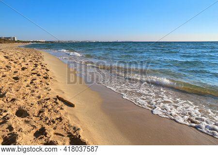 Salento Beach In Italy. Lido Rivabella In Apulia Region.