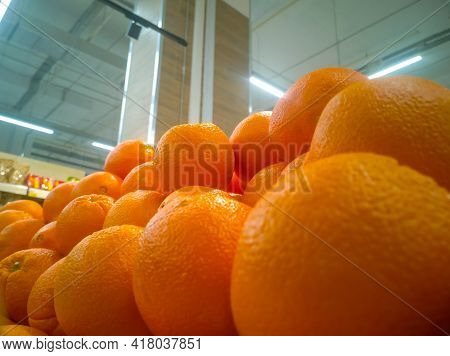 Juicy Oranges Close-up In A Hypermarket For Sale