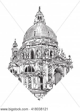 The Dome Of The Cathedral In The Classical Style With Arches, Statues And Clocks. Sketch On A Beige