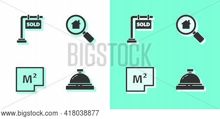 Set Hotel Service Bell, Hanging Sign With Sold, House Plan And Search House Icon. Vector