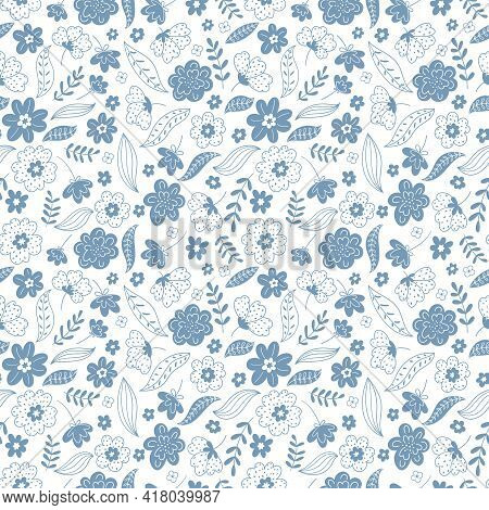 Trendy Seamless Floral Pattern. Fabric Design With Simple Flowers. Ute Repeated Pattern For Fabric O
