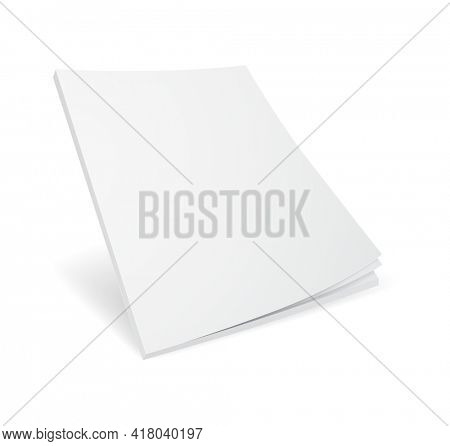 Blank book mockup with white pages 3d illustration  icon. Magazine template isolated on white background