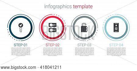 Set Key, Casting Keys, Safe Combination Lock And Mobile With Fingerprint Scan. Business Infographic