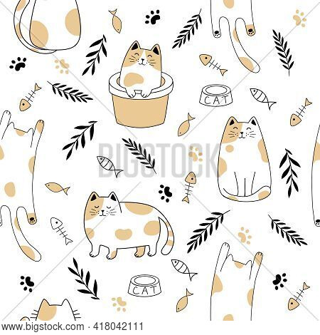 Seamless Pattern Of Simply Drawing Kitty In Various Acting Isolated On White Background.