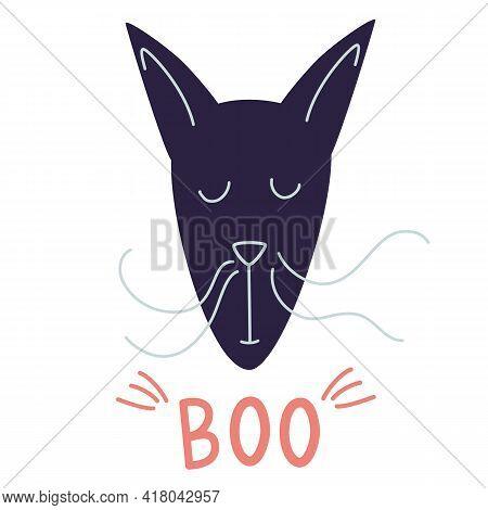 Portrait Of A Strange Cat Cartoon Vector Illustration. T-shirt Print, So Cute , Animal Drawing, Chil