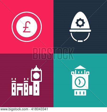 Set Pop Art Big Ben Tower, , British Police Helmet And Coin Money With Pound Icon. Vector
