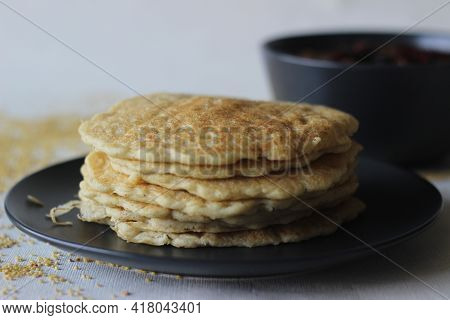 Rice Pancakes Made With Foxtail Millets Flour. An Experimental Version Of A Popular Kerala Dish Call