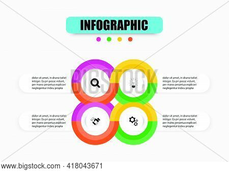 Circular Business Infographic Presentation Template 4 Options. Concept Planning Vector Design Templa