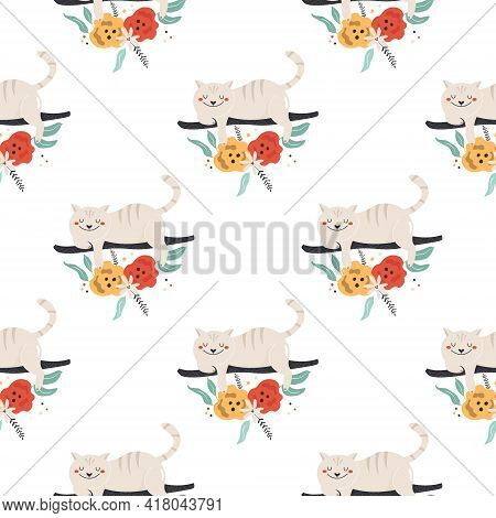 Seamless Pattern With Funny Smiling Cheshire Cat