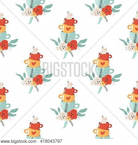 Seamless Pattern With Mouse Sitting In Tea Cup