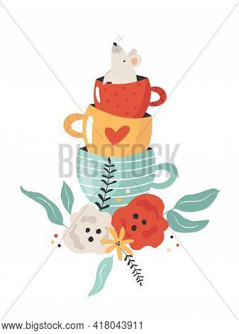 Colorful Composition With Mouse From Alice In Wonderlandin Tea Cup And Floral Ornament