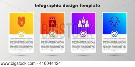 Set Bear Head, Jar Of Honey, Church Building And Russian Bagels. Business Infographic Template. Vect