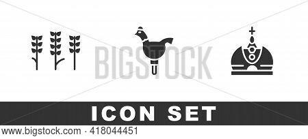 Set Wheat, Cockerel Lollipop And King Crown Icon. Vector