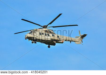 Labuan,malaysia-apr 23,2021:royal Malaysian Air Force Helicopter Ec-725 M55-05 At Low Level During T