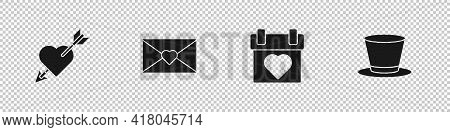 Set Amour With Heart And Arrow, Envelope Valentine, Calendar And Cylinder Hat Icon. Vector