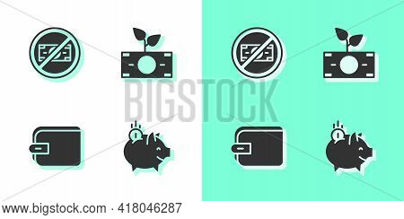 Set Piggy Bank With Coin, No Money, Wallet And Money Plant The Pot Icon. Vector