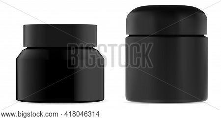 Cosmetic Cream Jar Black Plastic Mockup. Beauty Container For Wax Or Body Scrub. Premium Men Cosmeti